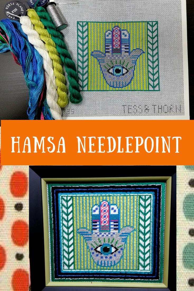 Hamsa needlepoint canvas by Tess and Thorn    Nimble Needling