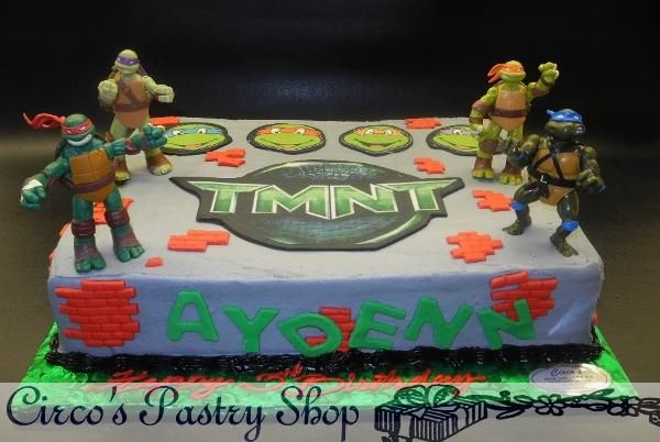 ideas how to make a ninja turtles cake with no fondent Google