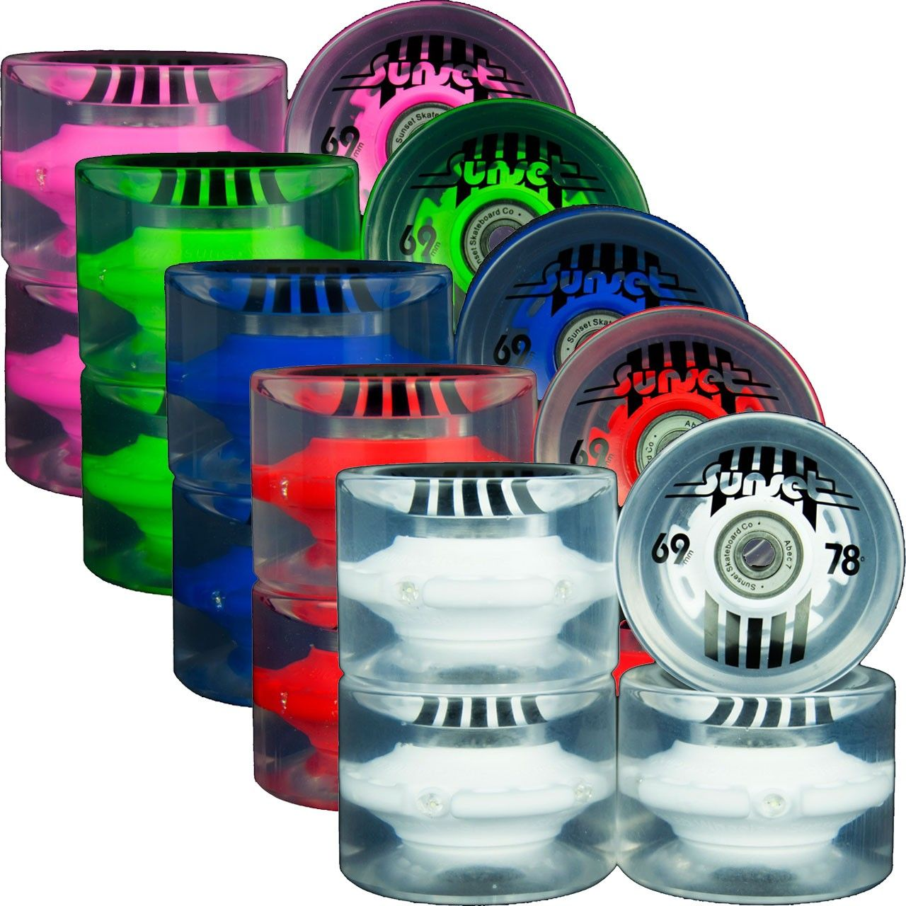 Sunset LED 69mm Wheels. Durometer: 78a | Diameter: 69 mm | Width: 50 mm | Offset | Abec 7 Bearings included | Set of 4 wheels