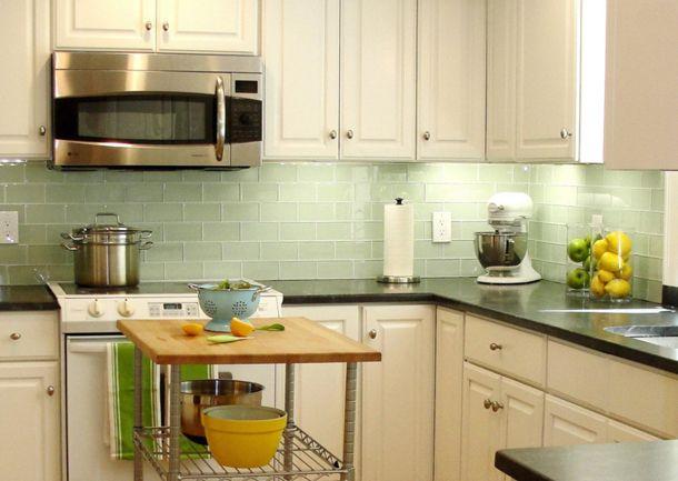 Benjamin Moore Misted Green Kitchen Backsplash