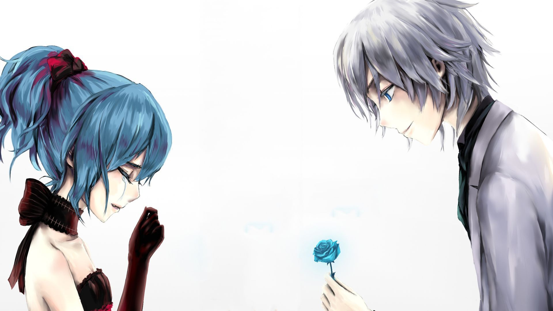 Anime Love Couple Boy Giving Rose To Cry Girl Wallpaper Anime