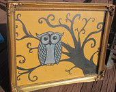 Claudia Marie- Grey Owl Golden Sky - Original Framed Painting- 2012 West Side Summer Avant-Garde Art & Craft Show Vendor