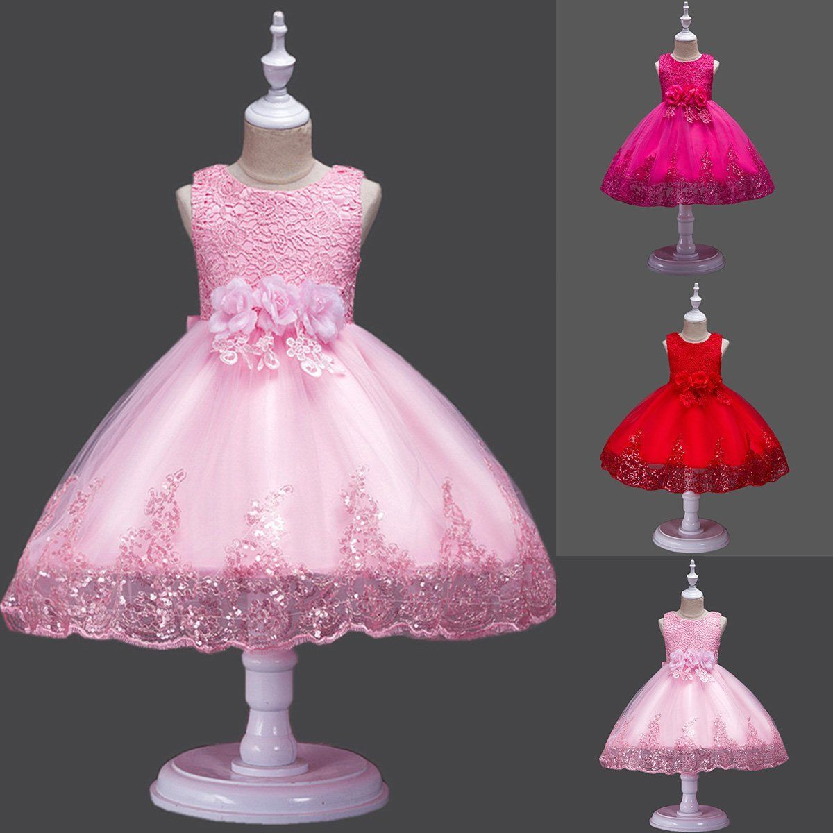 Kids Baby Flower Girls Party Lace Dress Wedding Bridesmaid Dresses Ages 2-10 Y