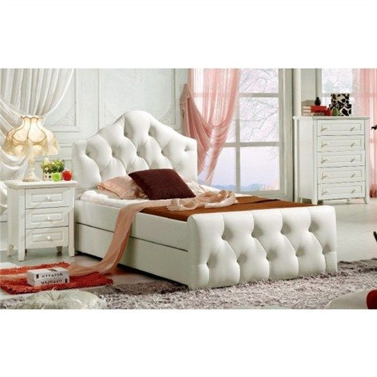 Hilton White Upholstered King Single Bed With Trundle   Beds   Bedroom