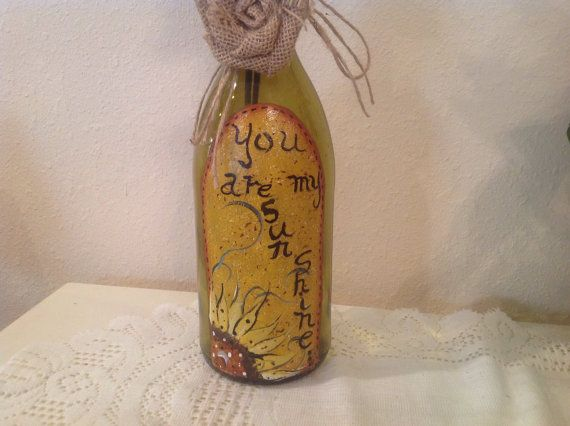 Upcycled Wine Bottle Country Decor Housewarming by CraftsByJoyice