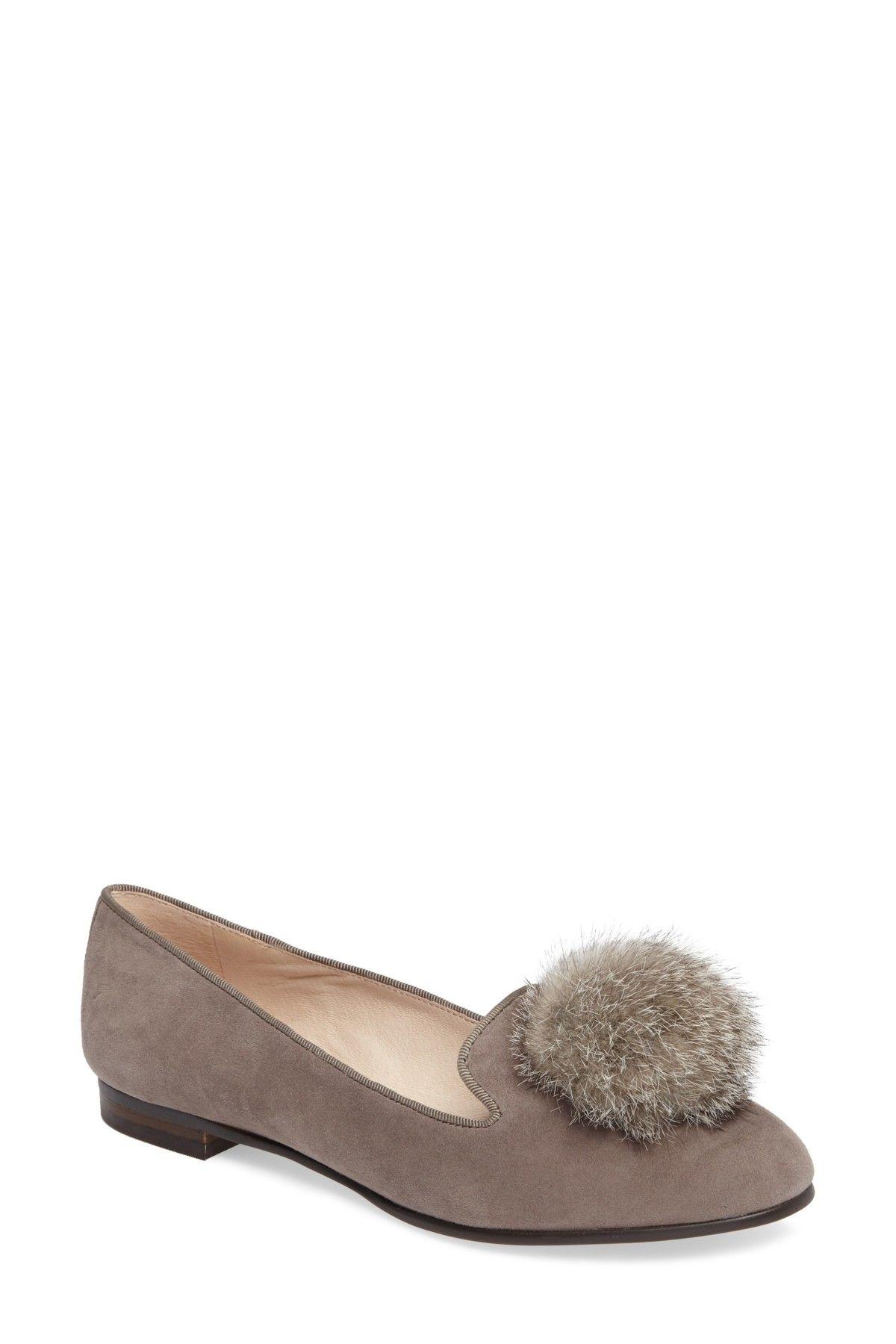 f4aa91d4938 Andres Genuine Rabbit Fur Pom Loafer