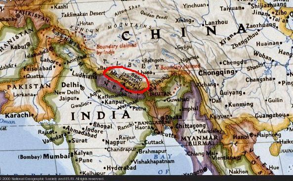Ubicacion Geografica Del Monte Everest Entre Nepal Y China Mapa