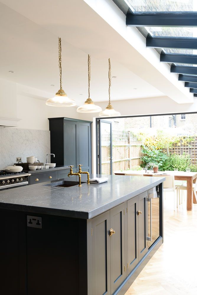 Beautiful island in the Victoria Road NW6 Kitchen with Belgian Blue Fossil worktops