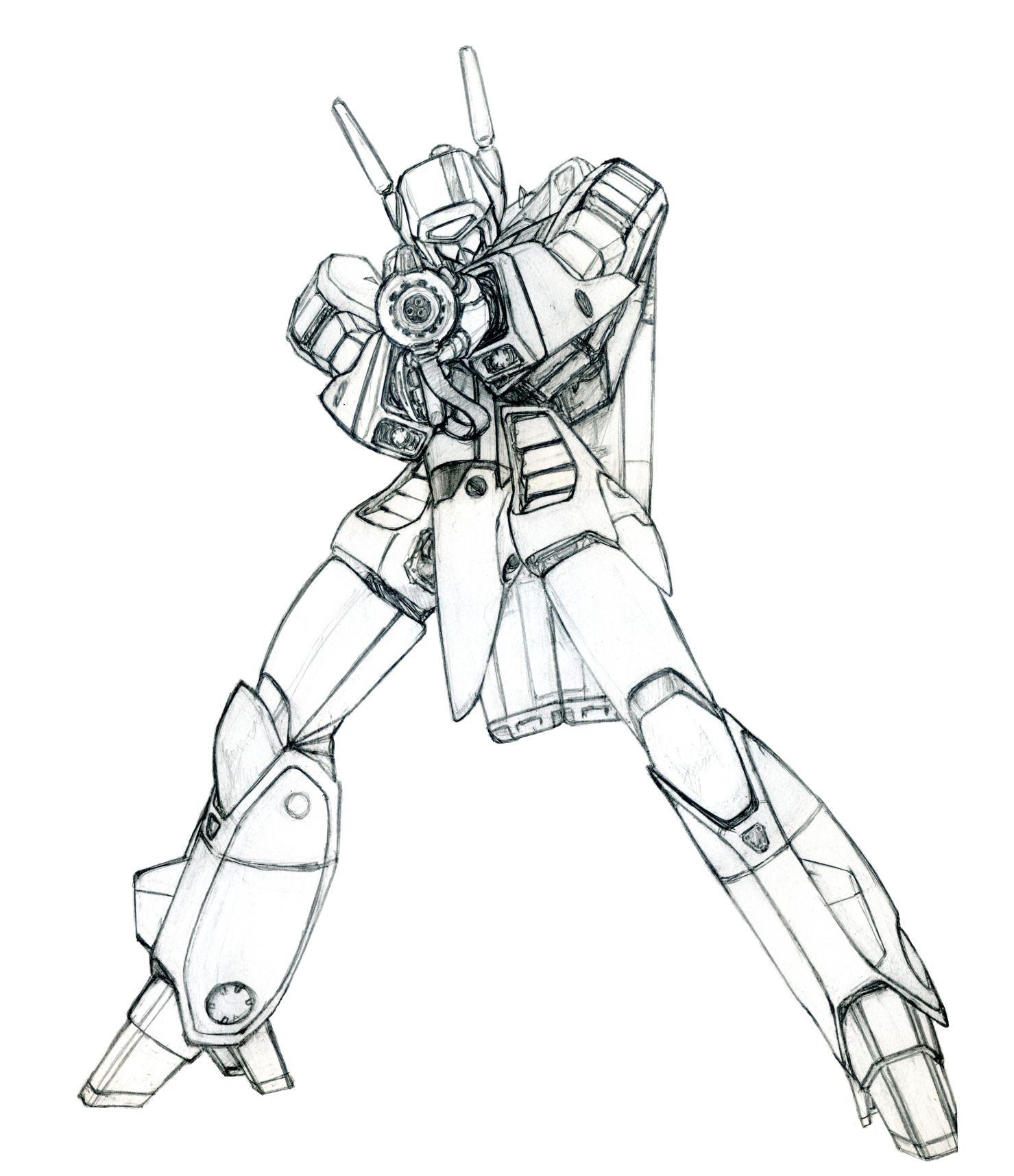 バトロイド バルキリー 人型 ロボット イラスト 超時空要塞マクロス