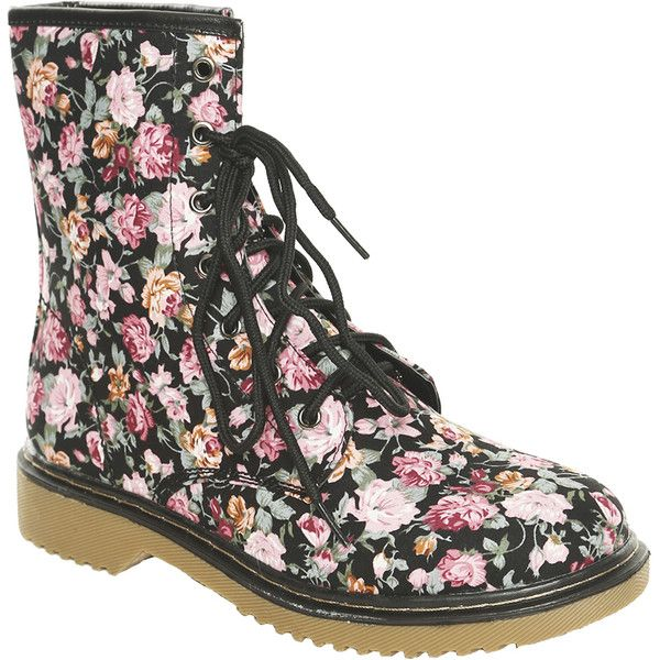 Floral Print Combat Boot (21.090 CLP) ❤ liked on Polyvore ...