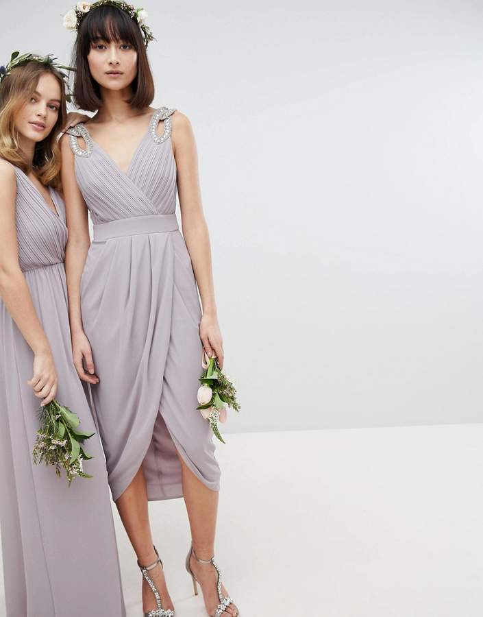 493eeefce8245 TFNC bridesmaid exclusive wrap midi dress with embellished shoulder ...