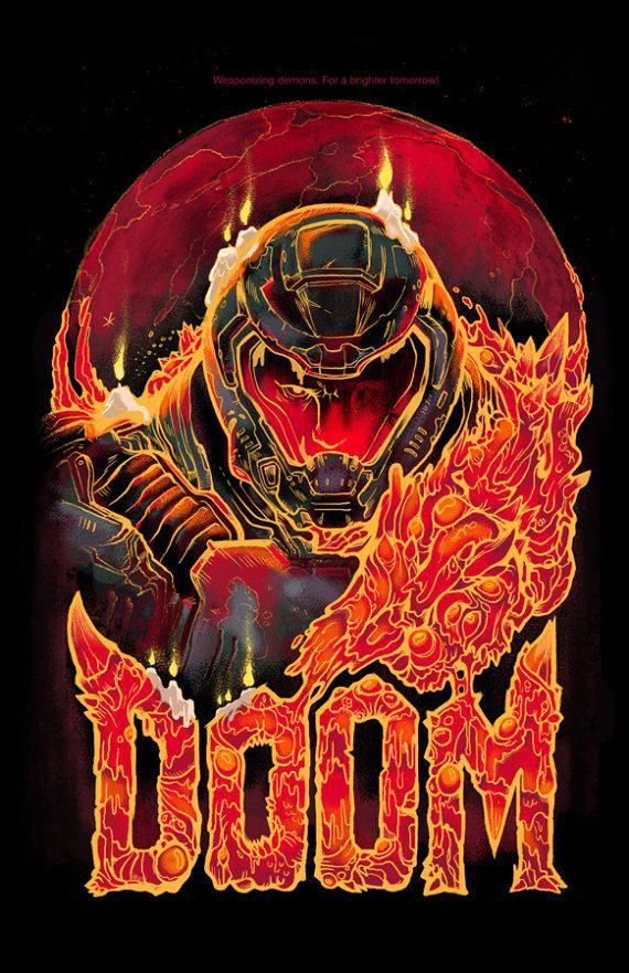 Doom Video Game Poster Video Game Art Prints Gamer Room Decor Gaming Prints Wall Art Arte De Videojuegos Dibujos De Juegos Juegos De Arte