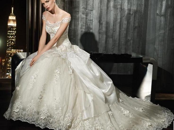 Glamorous Brautkleider Ballkleid-Kappen-Hülsen-Weinlese-Perlen ...