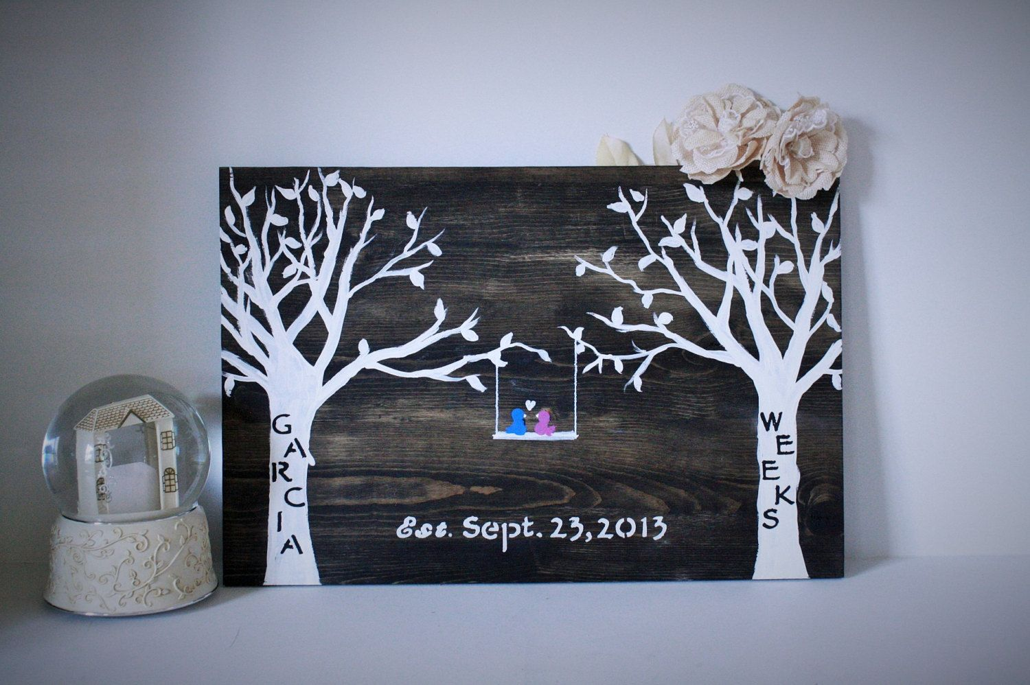 Wooden Wall Art Family Tree Wedding Date Sign Monogrammed Sign