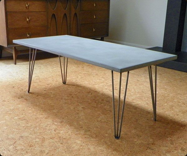 Reno Solid Acacia Wood Coffee Table: Concrete Coffee Table With Hairpin Legs