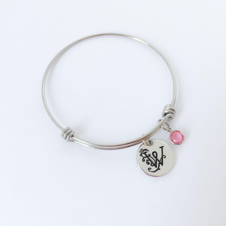 Monogram bracelet, Hand stamped jewelry, Personalized expandable bangle, Initial bracelet, Personalized bracelet, Bridesmaid gift by SavannahRaeDesign on Etsy