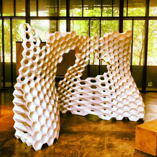 Hexagonal wall installation, Knowlton School of Architecture, The Ohio State University, Columbus, Ohio.