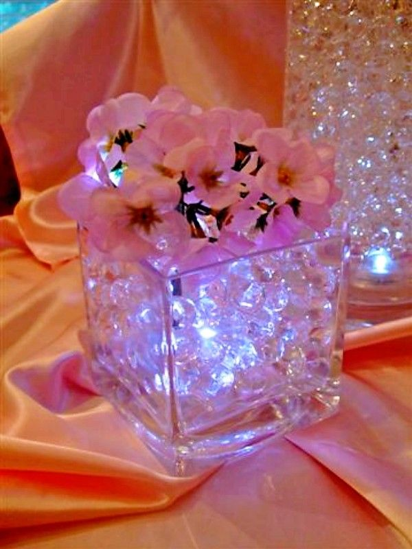 Cubed Vases Filled With Immersible Led Light Water Balls And Silk Hydrangeas Decorating I