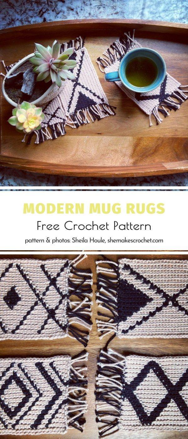Awesome Crochet Mug Rugs in 2020 Crochet rug, Modern