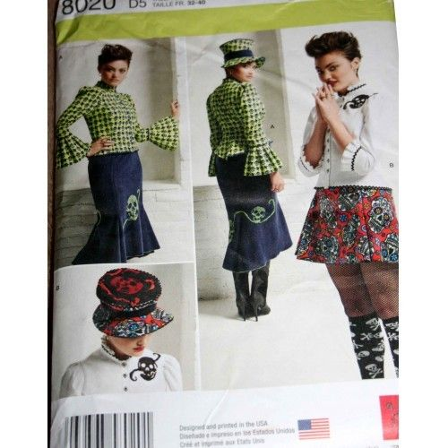 Sewing Pattern Simplicity 8020 1missesblouse Hat Knit Skirts 4 12