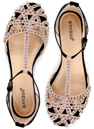 e172a2e07366e Bamboo Lynna 01 Rhinestone Studded Strappy Flats in nude and black faux  suede (ZARA knockoffs)