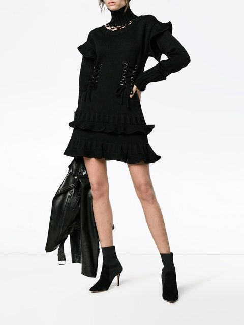 Discount From China Black Lace-Up Knit Dress Alexander McQueen Popular Online M4VASBIb