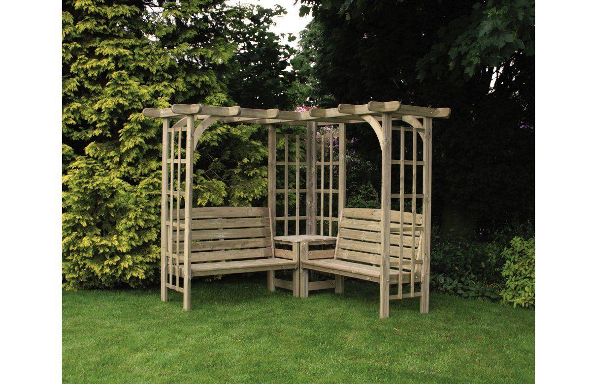 HGG Wooden Corner Arbour - Outdoor Patio Solid Wood Garden ...