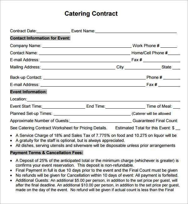 Catering contract sample catering contract agreement for Catering contracts templates