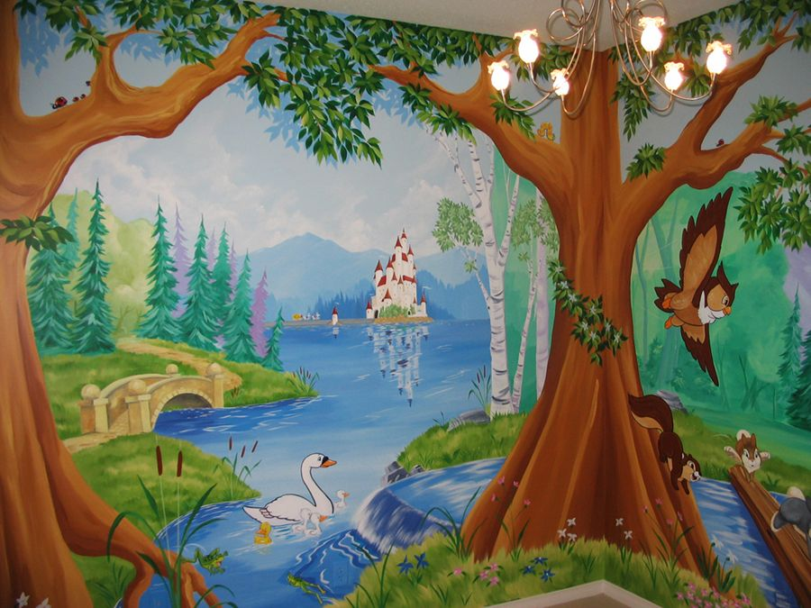Enchanted tree mural tree and forest themes soo amazing for Enchanted forest mural wallpaper