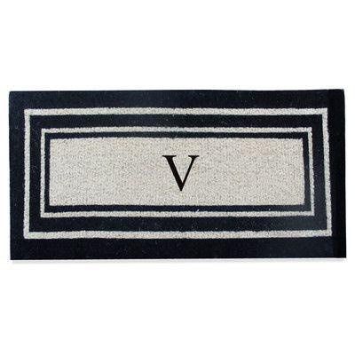 A1 Home Collections LLC First Impression Westwood Border Monogrammed Doormat Letter: V