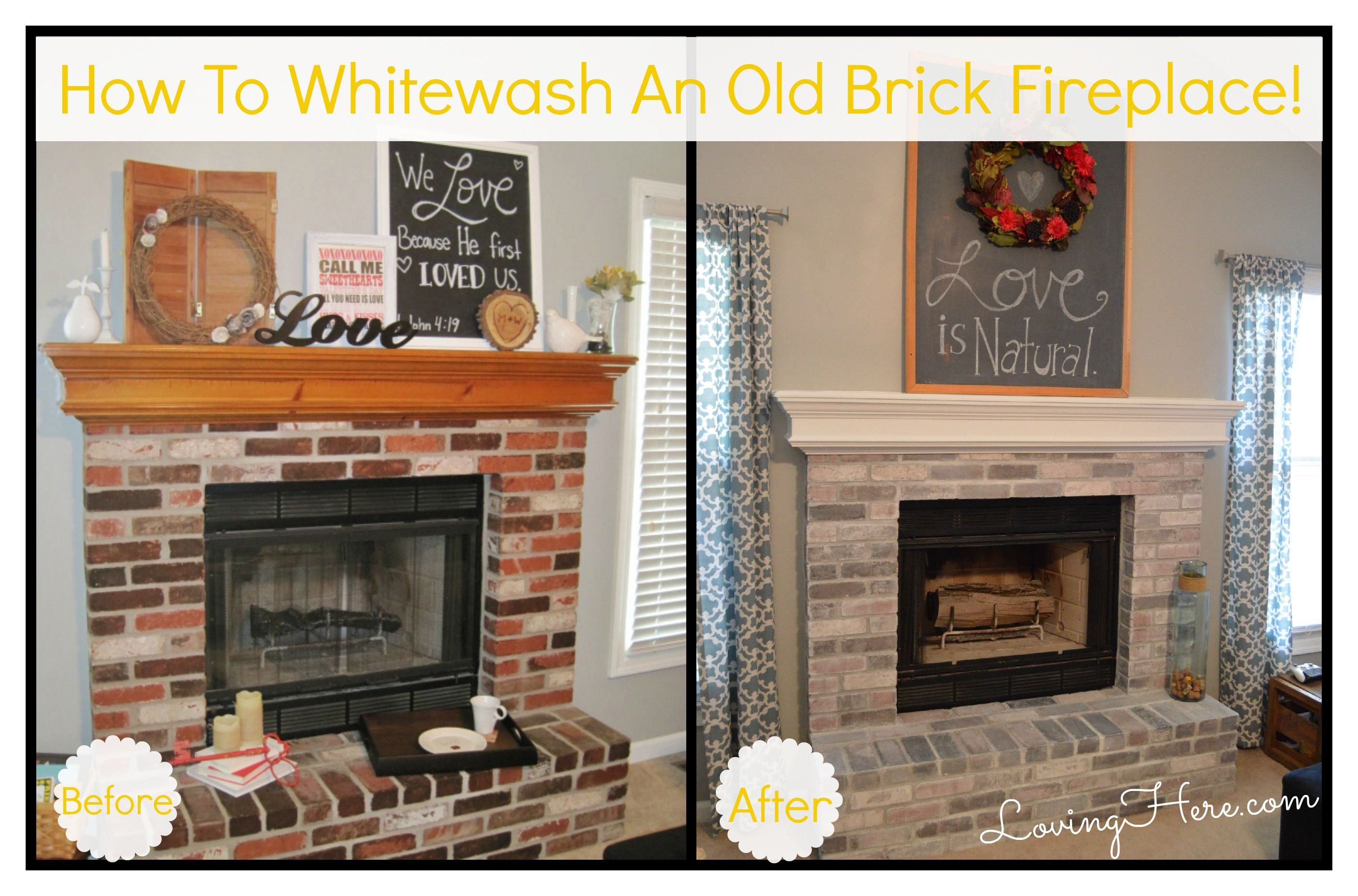 Update Old Brick Fireplace Fireplace Beforeafter Family Room Decorating Brick Fireplace