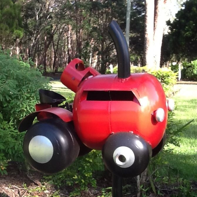 Red Tractor Letter Box Made From Recycled Gas Cylinders So Cute Mailbox Design Letter Box Metal Mailbox