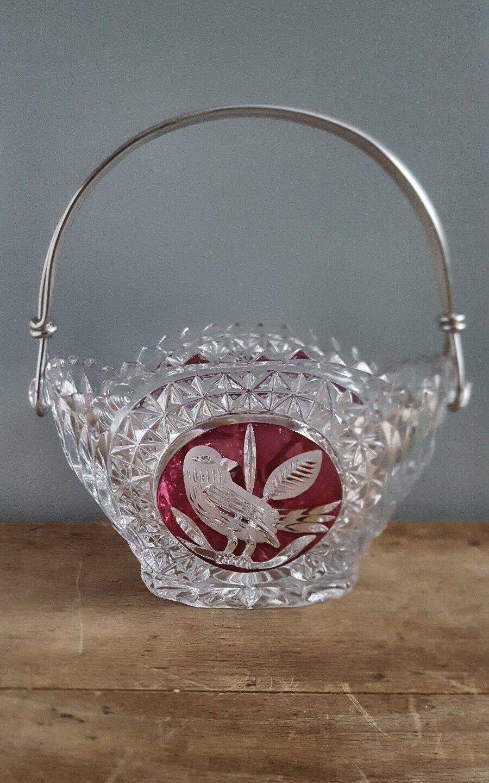 Antiquevintage german hofbauer ruby crystal basket with