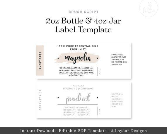 2oz Bottle & 4oz Jar Labels // Digital Template // Essential