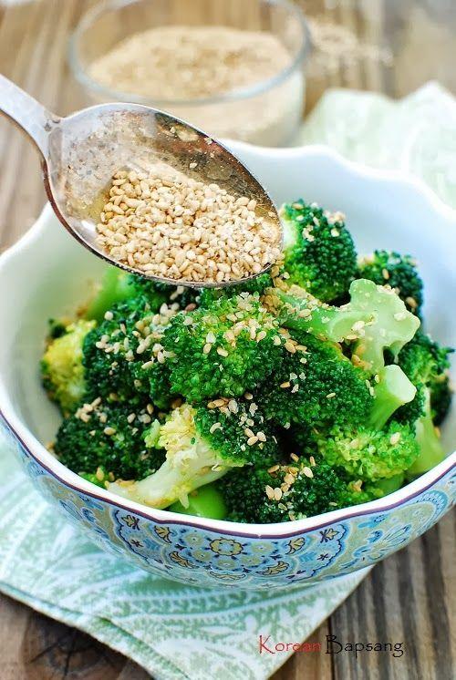 Sesame broccoli 1 pound broccoli 1 teaspoon salt 1 tablespoon sesame korean food recipes forumfinder Image collections