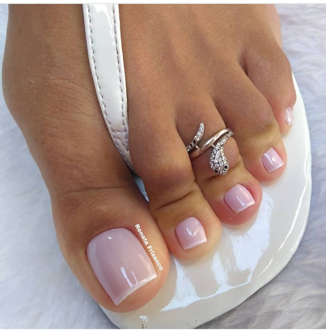 Pedicure French Sheer Pink White Sandals Pretty Toe Nails Glitter Toe Nails Summer Toe Nails