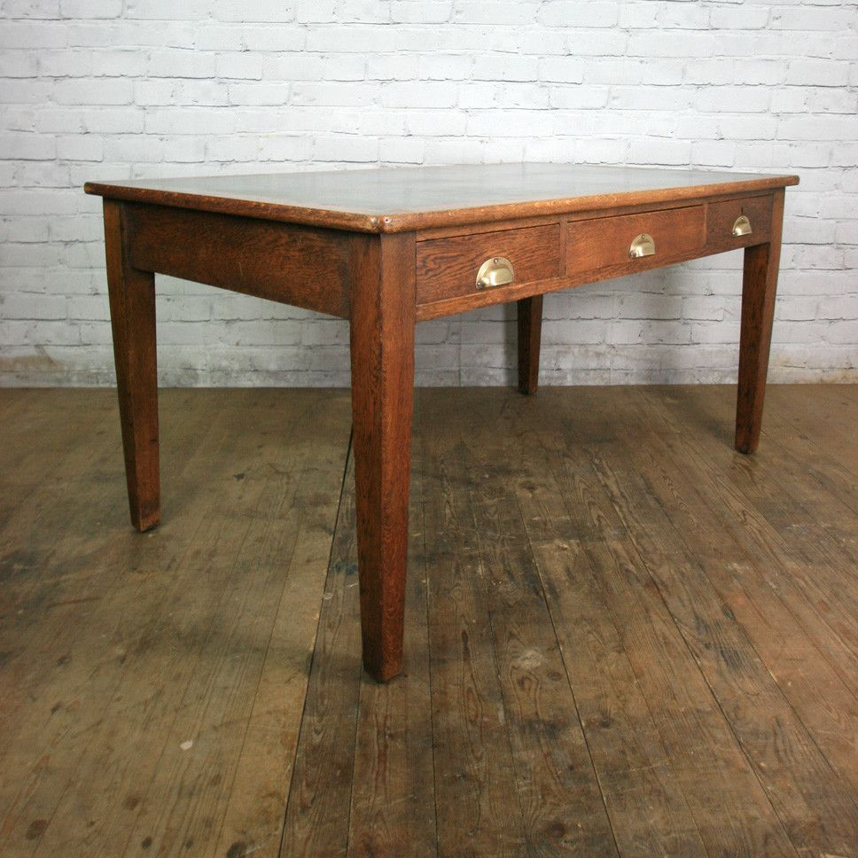 Antique Edwardian Vintage Oak Library Table Desk - Antique Edwardian Vintage Oak Library Table Desk Library Table