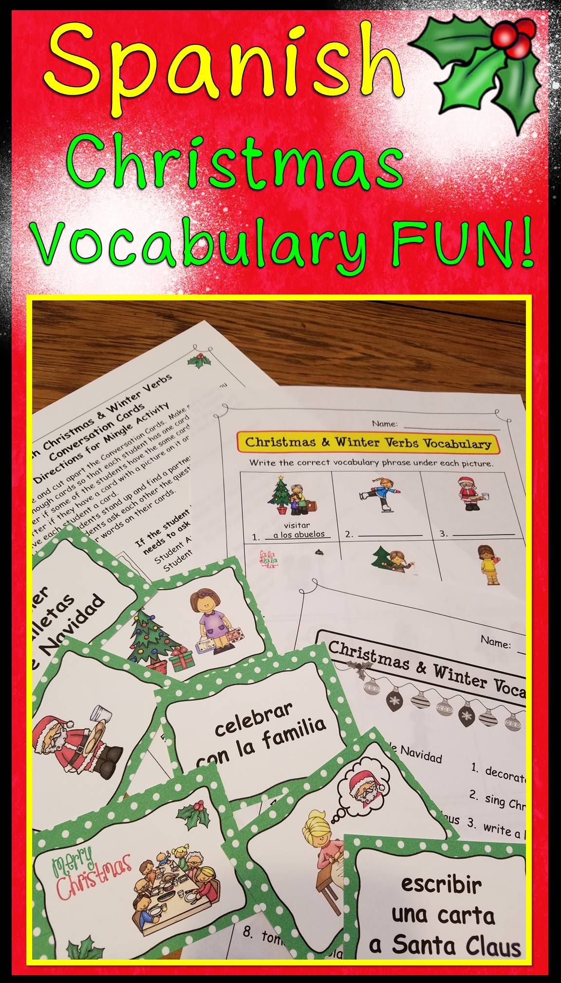 Spanish Christmas Activities Nouns And Verbs