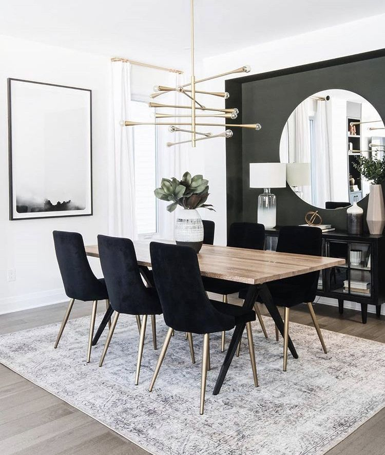 Natural Wood Table With A Nice Contrast Of Black Love The Accent Wall With Large Mirror To Not Ma In 2020 Dining Room Colors Dark Living Rooms Dining Room Inspiration