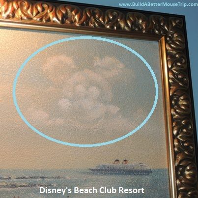 Hidden Mickey at Disney's Beach Club Resort in the clouds on this portrait in the lobby. For more on Hidden Mickey's, see: http://www.buildabettermousetrip.com/hidden-mickey  / For more Beach Club Resort photos, see: http://www.buildabettermousetrip.com/images/wdw/DeluxeBeachClub/index.htm #HiddenMickey #WDW #DisneyWorld