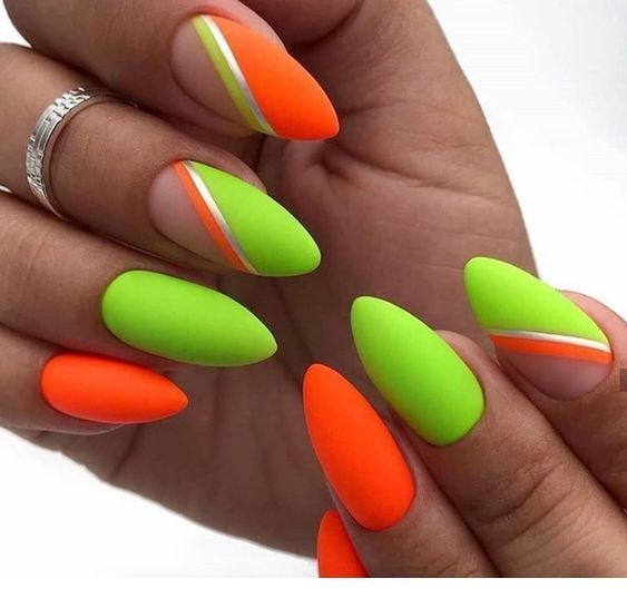 Awesome Orange And Green Neon Nails Women Fashion Orange Nails Neon Nails Neon Green Nails