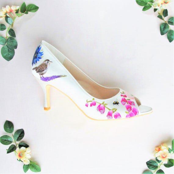 Pink Foxglove, Blue Nigella, Ranunculus, Wren bird  & Bumble bee print Hand-painted Custom Wedding S