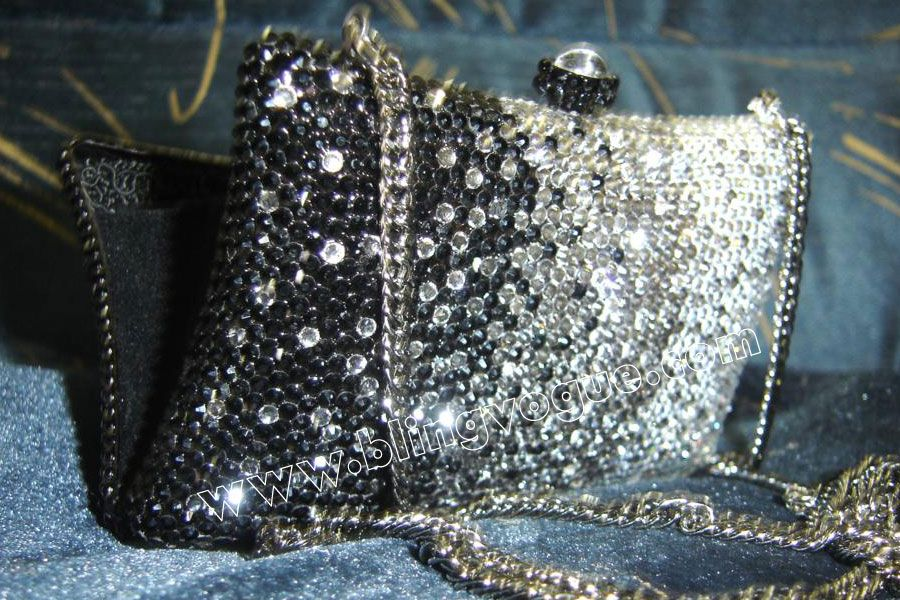 Black Silver Swarovski Crystal Clutch Bag From Blingvogue Buy This Evening