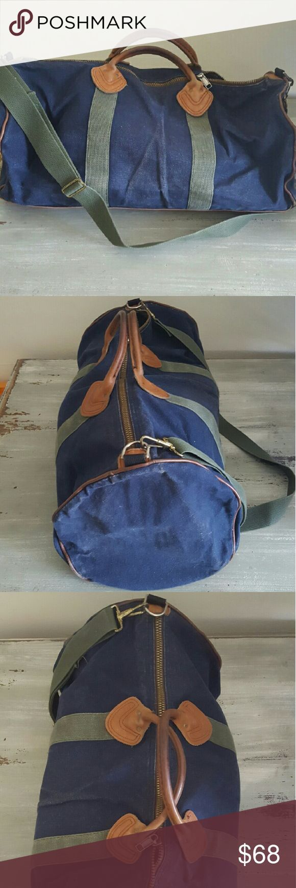 Vintage LLBean duffle bag Blue denim and leather duffle bag with strap LL Bean Vintage LLBean duffle bag Blue denim and leather duffle bag with strap LL Bean