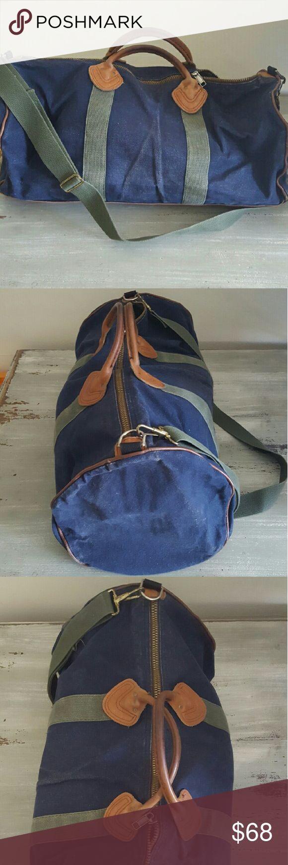 Vintage LLBean duffle bag Blue denim and leather duffle bag with strap LL Bean Vintage LLBean duffle bag Blue denim and leather duffle bag with strap LL Bean
