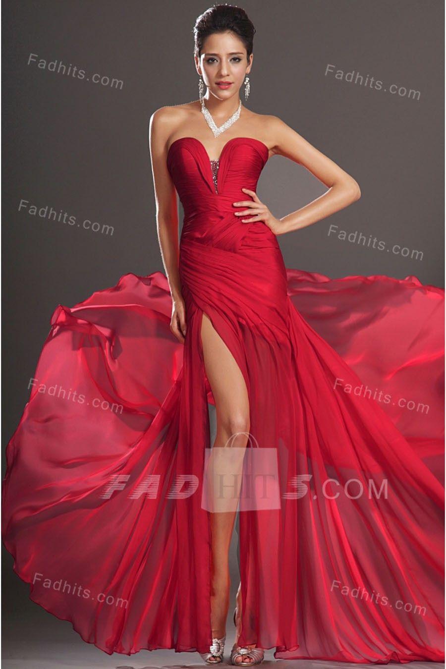 Aline floorlength sweetheart red chiffon dress dwd online sale