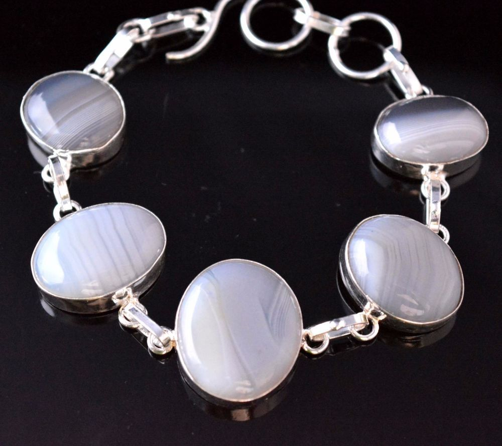 Amazing design botswana lace agate sterling silver plated bracelet