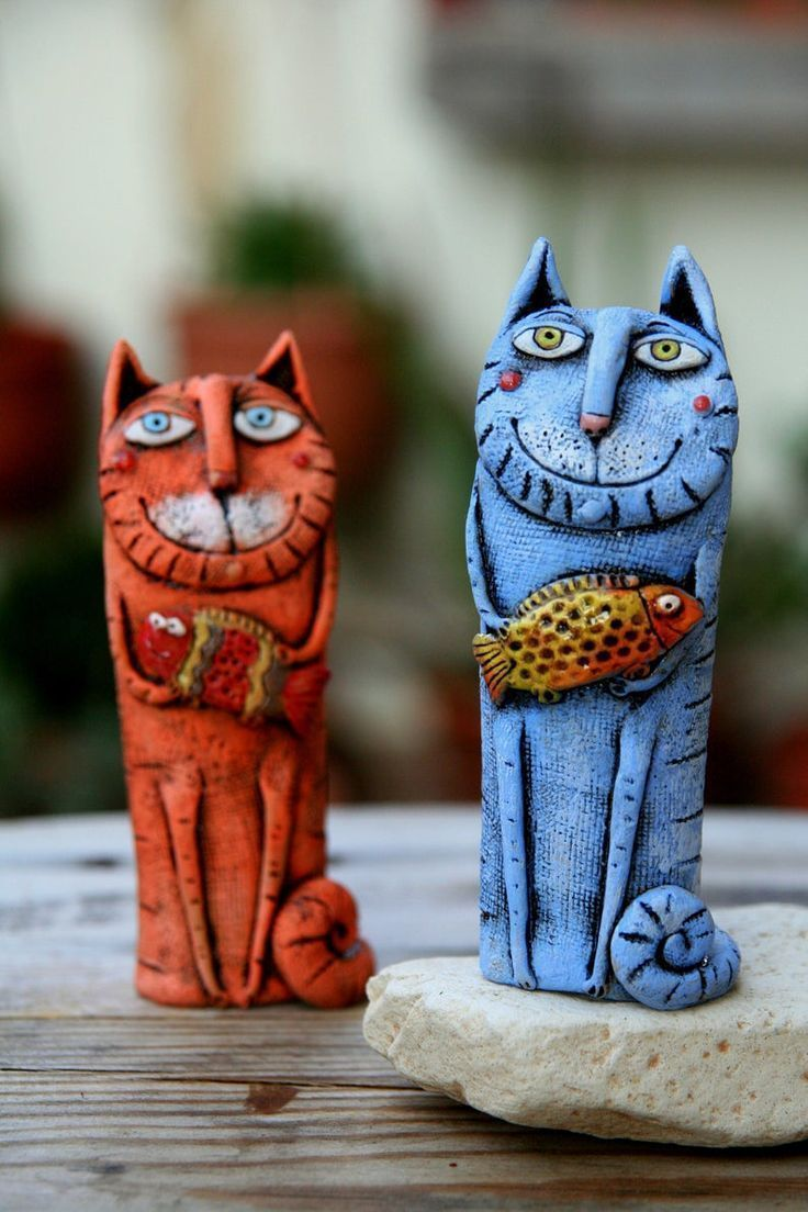 Pottery cat miniature, Cat lovers gift, Funny cat