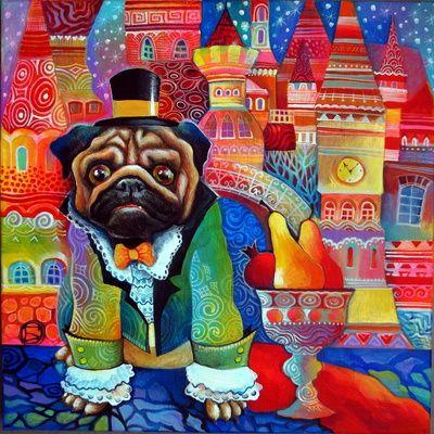 Kiwi pug Art Print