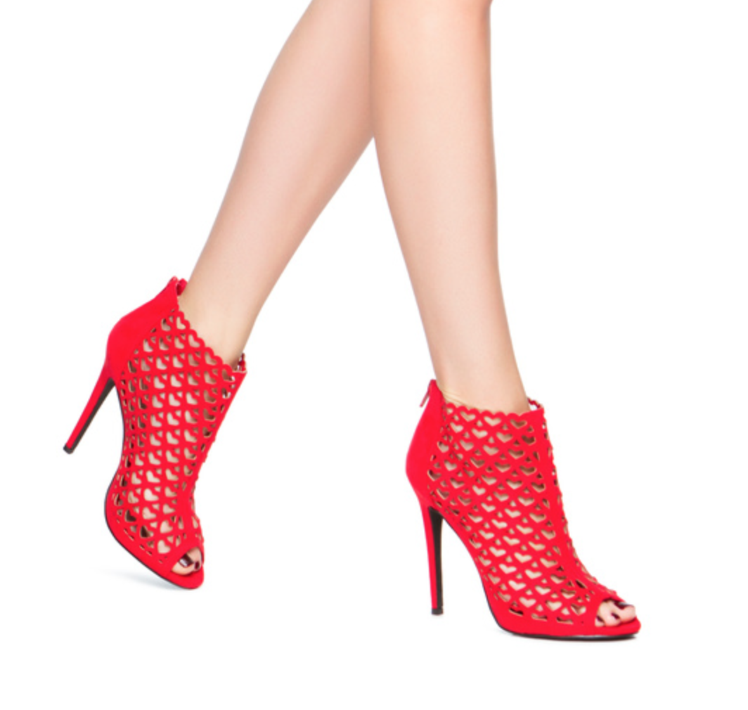 The perfect transition bootie. Add a pop of color to your wardrobe with the girly Monica lasercut booties. #ShoeDazzle